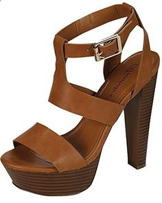 Breckelles Women's Strappy Wooden Heels B(M) US, Tan) - Relaxbuddy Online Shopping Ankle Strap, Online Shopping, Women's Heels, Sandals, Leather, Website, Shoes, Amazon, Products