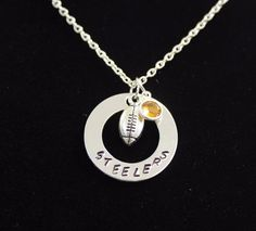 Pittsburgh Steelers Hand Stamped Necklace w/ Swarovski and Silver Football Charm…