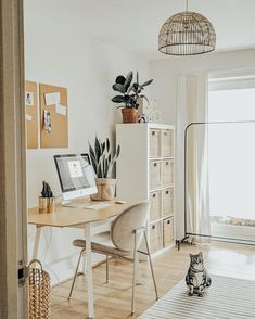 Light and Airy Office with a Boho-Scandi twist Light and Airy Office with a Boho-Scandi twist Krystal krystaljbarclay Studio Welcome to my home office I wanted a airy boho guest room small spaces BohoScandi Light Office Twist Office Interior Design, Office Interiors, Home Interior, Office Designs, Interior Styling, Home Office Space, Home Office Decor, Home Decor, Small Office