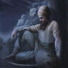 Guru Gobind Singh Ji in the forest collecting his thoughts after his sons and wife died protecting our sikh faith. (sikh means to teach) Guru Nanak Ji, Guru Pics, Warriors Wallpaper, Guru Gobind Singh, Dev Ji, Spiritual Teachers, World Religions, Kundalini Yoga, Cardio