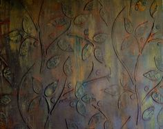 Rust and Green patina paint over raised stencil on canvas