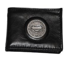 bb91862e2cd0 Harley-Davidson® Men s Bar   Shield Medallion Bi-Fold Leather Wallet.  Tradition Pocket Sized. FB318H Harley-Davidson.  18.95