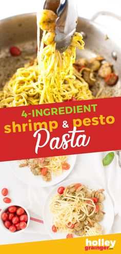 If you're looking for a fast weeknight meal that uses only 4 ingredients, Shrimp & Pesto Pasta is a definite go-to. It uses prepared pesto and refrigerated pasta to cut down on prep time so you can get your meal on the table fast with minimal cleanup. (And really, what's not to love about that!) Yummy Pasta Recipes, Top Recipes, Seafood Recipes, Easy Dinner Recipes, Easy Meals, Simple Recipes, Delicious Recipes, Dinner Ideas, Amazing Recipes