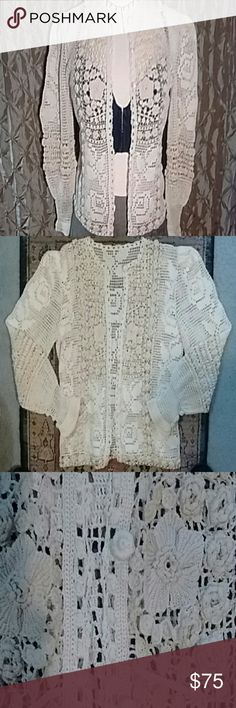"Vintage Crocheted Blouse! Cream colored vintage crocheted blouse, in perfect condition! I Covered buttons up front, extra inside! No tags at all, measures flat: 17"" across armpits, 16"" across shoulder seams, 20"" shoulder to hem. If anyone can tell ME anything about this; please tell me! I'm calling it a Small; fits me perfectly! unknown Tops Blouses"