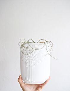 Large scale powdery matte white porcelain Op Art vase expertly created by artist Michaela Frey for West German porcelain maker Kaiser.