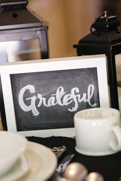 """Mini chalk boards as decor for Thanksgiving table!  Spray paint picture backing with chalkboard paint and use to write words like """"grateful.""""  Must remember for next year! #farmhouse  #thanksgiving #decor #table #chalkboard"""