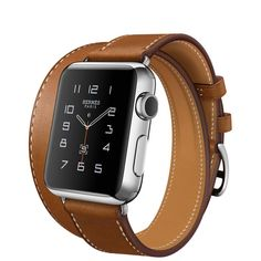 Apple Watch Hermès Double Tour, 38mm Stainless Steel Case with Fauve Barenia Leather Band - Small/Medium - Apple