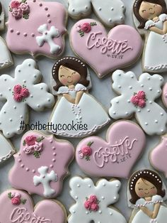 2 Dozen First Communion or Baptism Cookies image 0 Star Cookies, Royal Icing Cookies, Cross Cookies, Candy Bar Comunion, Communion Centerpieces, Shower Centerpieces, Cake Paris, Christening Cookies, First Holy Communion Cake