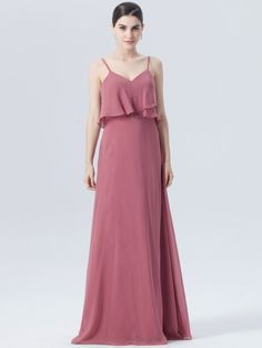 a line dusty rose bridesmaid dress with ruffled bodice