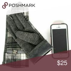 Plaid tartan Touch Screen gloves Grey Black Soft, trendy gloves to get you ready for colder weather!  Grey, black, white Acrylic/poly 60/40 Belt Thumb and index finger tips are conductive on each hand  Sorry, NO TRADES  Price firm unless bundled Sofi + Sebastien Accessories Gloves & Mittens