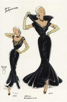 Vintage fashion illustrations, 1950s