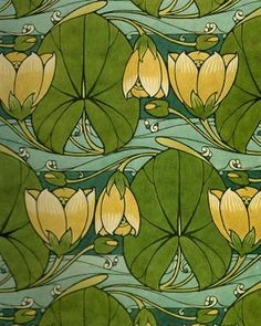 Water lily block printing, by Harry Napper, art nouveau textile designer 1860-1930