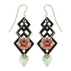 Black Coated 10K Gold Rose Earrings - Black Hills Gold
