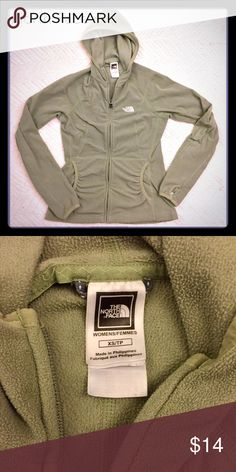 💚💚North Face Olive Green Fleece Hoodie - XS For the Olive Green colored lovers!! Gently worn North Face fitted hoodie in excellent condition. Hoodie also has thumb slits. 💚 North Face Tops Sweatshirts & Hoodies