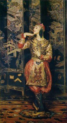 Vaslav Nijinsky en Danseur Oriental -  Jacques-Emile Blanche 1910.