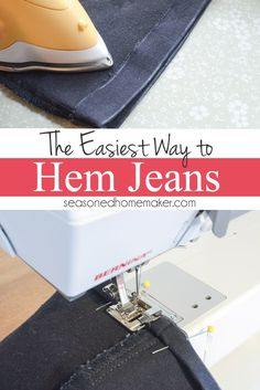 Learn the best way to hem your jeans. This method works great for shortening any garment with a double rolled hem. In the third photo you will understand why it's so fast and easy. Best of all, it doesn't leave bulk or create an additional seam at the bottom of your jeans.