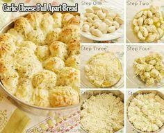 Ooomg delish.. Cheesy garlic pull-apart bread! Frozen dinner rolls, parmesan, garlic, butter, and italian seasoning, sp.