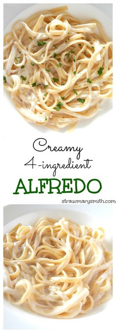 My most popular recipe! This is the homemade creamy Alfredo sauce you always wished you could have at home. And it only takes 4 ingredients and 10 minutes! On strawmarysmith.com.