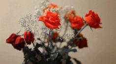 Анимация Букет из роз с падающими каплями воды, гифка Букет из роз с падающими каплями воды