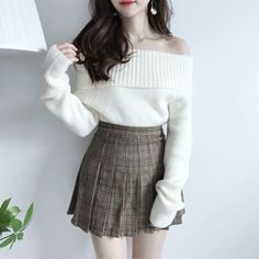 Creamy Off Shoulder Knit - korean fashion - Korean Fashion Trends, Korea Fashion, Kpop Fashion, Kawaii Fashion, Cute Fashion, Girl Fashion, Fashion Dresses, Plaid Fashion, Tokyo Fashion