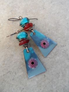 Eye in the Sky ... Artisan-Made Enameled Copper, Lampwork, Horn and Copper Wire-Wrapped Boho, Abstract Earrings by juliethelen on Etsy https://www.etsy.com/listing/245575798/eye-in-the-sky-artisan-made-enameled
