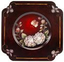 Camellia Plate  Gabriele Hunter's love for painting started in 1993 when she noticed an ad for decorative painting classes and soon after signed up for every class in her area. She now teaches in her own studio in Charleston, WV, and designs and publishes packets in her spare time. Her design, on a square metal plate, features the camellia, that lovely flower of the American South.
