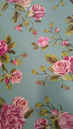Behang rozen turquiose