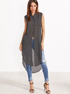 Sheinside Women Longline Blouses Striped Sleeveless Summer Tops Black And White Curved Hem Clothing 2017 Pocket Button Up Blouse Casual Outfits, Fashion Outfits, Women's Fashion, Fashion Trends, Long A Line, Sleeveless Blouse, Blouse Designs, Blouses For Women, Shirt Dress