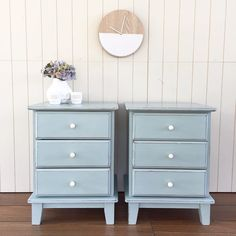 """Rebecca • With the Grain • QLD on Instagram: """"SOLD -- Had a bit of a painting frenzy this week and I have three pieces to show for it (and still a garage stocked with more to do - can't paint fast enough!) This lovely pair have been painted in a Duck Egg and Old White mix and lightly distressed - perfect to brighten up the bedroom {$315} #brisbane #qld #queensland #vintage #vintagefurniture #paintedfurniture #bedsidetable #furniturerestoration #womenwhodiy #ascp #anniesloanchalkpaint #etsy"""""""