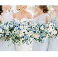 The Wedding Row/ Jennifer + Michael/ Image by Aaron and Jillian Blue Wedding Flowers, Floral Wedding, Wedding Colors, Wedding Bouquets, Wedding Styles, Light Blue Flowers, Blue Bouquet, Blue Hydrangea Bouquet, Wedding Dress Boutiques
