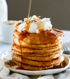 Buttermilk Sweet Potato Pancakes with Coconut Whipped Cream