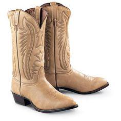 Men's Elk Leather Western Boots, Camel