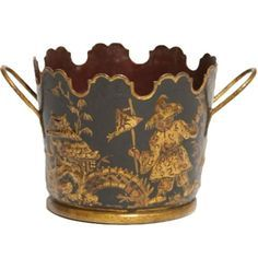 French Empire Tole Peinte Verriere / Monteith bucket with handles