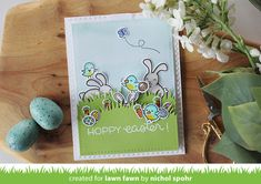 April6_HoppyEasterCard_NicholSpohr1. LF  Hoppy Easter, Happy Easter, Chirpy Chirp Chirp, Elphie Selphie, and Year Four.
