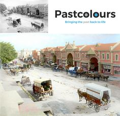 East End Markets Adelaide: Now Revealed in True Colour as they appeared in real life 114 Years ago. True Colors, Vivid Colors, Colours, Family Portraits, Family Photos, Old Buildings, Terrace, Real Life, The Past