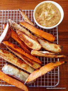 Sweet potato chips and tomato-avocado-lemon-date dip. #Primal #Paleo #PrimalBlueprint