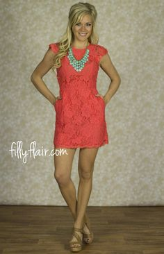 Lost in Lace in Coral Orange - This dress is so stunning!! Get free shipping at fillyflair.com with a purchase over $50!