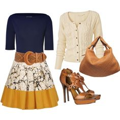 Yellow and Print Skirt, created by styleofe.polyvore...