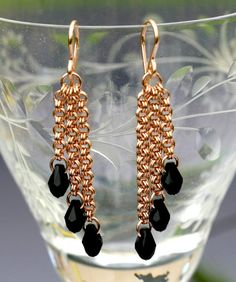 Raven - Rose Gold-Filled Chain Maille Earrings with Swarovski Crystal Drops