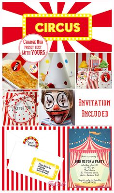 Circus Party Kit | Complete Set Carnival Party Printables | DIY Circus birthday party | Personalized Carnival Birthday Kit