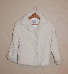 Vintage 90s White Faux Fur Jacket Fuzzy Crop by founditinatlanta