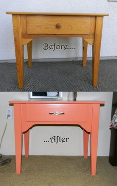 nightstand re-finishing. how to re-do furniture. master bedroom remodel coral and gray. from drab to fab. before and after pictures Sanding Furniture, Paint Furniture, Furniture Makeover, Furniture Design, Redoing Furniture, Coral Furniture, Unique Furniture, Furniture Ideas, Repurposed Furniture
