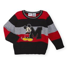 """Disney Baby Boys Black/Red/Grey Long Sleeve Yarn Dyed Sweater with Mickey Mouse Applique - Babies R Us - Babies """"R"""" Us Disney Baby Clothes, Cute Baby Clothes, Disney Outfits, Mickey Mouse Outfit, Baby Mickey, Little Boy Outfits, Baby Boy Outfits, Baby Boys, Toddler Boys"""