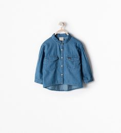 STUDDED DENIM SHIRT WITH POCKET from Zara Baby Girls