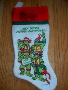 Rare Vintage Teenage Mutant Ninja Turtles Christmas Stocking 1990 TMNT