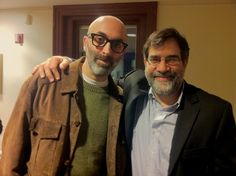"With Eduardo Halfon last night, after his fabulous reading. He is a Jewish Guatamalan who writes autobiographical fiction in Spanish while thinking in English and Spanish. His new book is his first translated into English, ""The Polish Boxer."" A terrific novel - a must read. http://nyti.ms/Thq2uA"