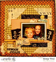 Celebrate childhood memories with this An ABC Primer layout by Romy Veul #Graphic45