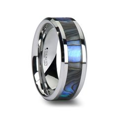 CORVALLIS Tungsten Carbide Ring w/ Mother of Pearl Inlay 4mm, 6mm, 7mm, 8mm & 10mm