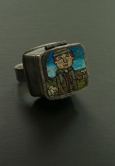 Cynthia Toops' polymer clay micro mosaic jewelry Wanderlust Ring Closed