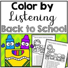 Back to School Color by Listening (A Following Directions Activity) Beginning Of The School Year, Back To School, School Stuff, Teaching First Grade, Teaching Kindergarten, Speech Therapy Activities, Preschool Activities, Following Directions Activities, Play Therapy Techniques